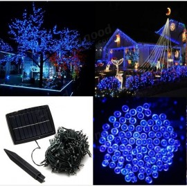 100 LED Blue Light Indoor Outdoor Wedding Christmas Party Solar Powered String Light