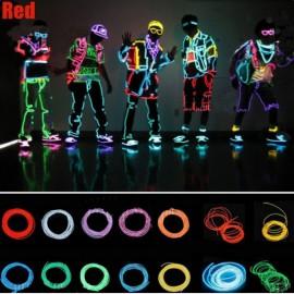 4M LED Flexible Neon EL Wire Light 3-Mode Party Dance Decor Light Red
