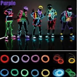 4M Flexible 3-Mode Neon EL Wire Light Party Dance Decor Light Purple