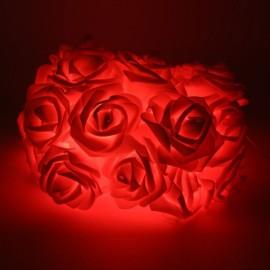 20 - LED Roses  String Light 8 Color Night Light - Red