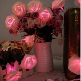 20 - LED Roses  String Light 8 Color Night Light - Pink