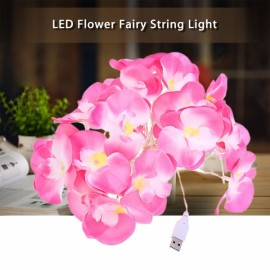 10M 20-LED USB Interface Flower Petal Shape Waterproof Fairy String Light for Decoration Pink