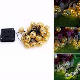 3.5M 10-Ball Waterproof Solar LED String Light Christmas Garland Light Decoration Golden