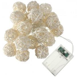 20 LED Thailand Rattan Ball String Fairy Lights Wedding Warm White