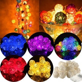20 LED String Lamp Fairy Lights Thailand Rattan Wedding Ball Colorful