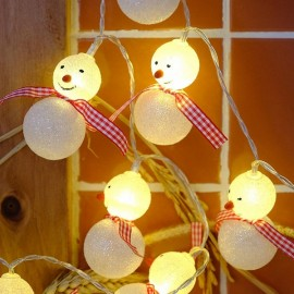 1M 10 LED Battery Operated Snowman String Light for Garden Home Decoration