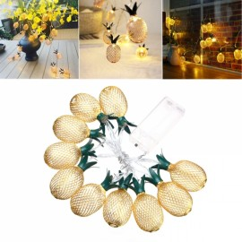 1M 10LED Battery Powered Warm White Metal Pineapple Shaped String Light