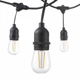 15pcs 2W LED E26 Hanging Sockets 48 Foot Weatherproof Edison String Light