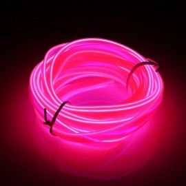 5M EL Led Flexible Soft Tube Wire Neon Glow Car Rope Strip Light Pink