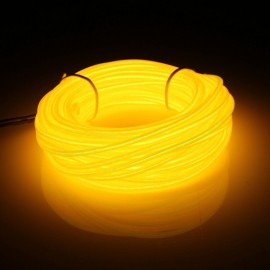 5M Led Flexible Soft Tube Wire Neon Glow Car Rope Strip Light Yellow
