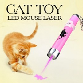 LED Laser Pointer Light Pen w/ Animation Mouse Pattern Pet Cat Toys