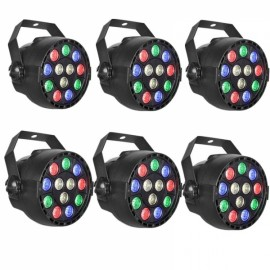6pcs 12W 12 LED RGB Party Stage Light Disco Club Projector Light UK Plug