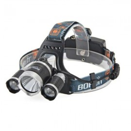 3 LED Waterproof Headlamp USB Charging RJ-5000 5000lm 4-Mode - Black