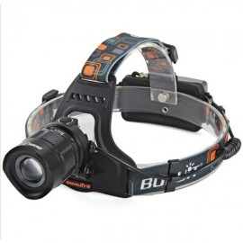 "RJ-2157 2 ""1200lm"" Zoomable USB Charging Fishing Hunting Waterproof LED Headlamp Black"