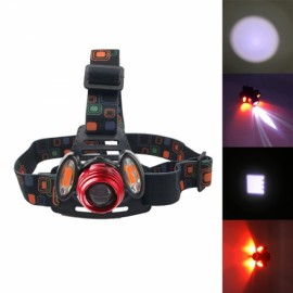 800LM T6 + 2 x COB LED Bicycle Headlight USB Rechargeable Lamp Red