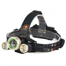900 Lumens T6LED Bicycle Headlight Mechanical Zoom Outdoor Sports Headlamp 4 Modes Adjustable Head Light Black & Golden
