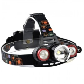 XQ-117 600 Lumens T6 2x LED Bicycle Headlight Mechanical Zoom Outdoor Sports Adjustable Headlamp Black & Red