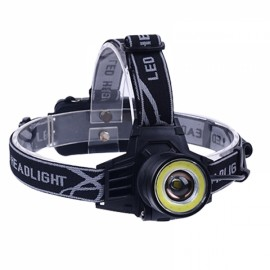 Adjustable Super Bright T6 + COB 700 Lumens Headlight Zooming Induction LED Headlamp Black & White