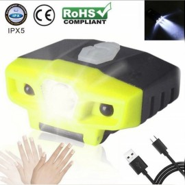 LED & 2 COB Light Rechargeable Hat Light Cap Headlamp Sensor Induction