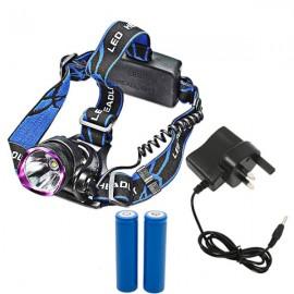 XML T6 LED 1-Bulb 1000LM 3 Modes LED Headlamp UK AC Adapter