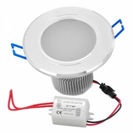 THD-G355 3W 6000K 270LM White 3-LED Ceiling Lamp with Adapter Silver (89~265V)