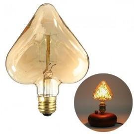 E27 40W Edison Incandescent Filament Light Retro Vintage Lamp Heart Shape Light Bulb(220V)