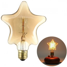 E27 40W Edison Incandescent Filament Light Retro Vintage Lamp Pentagram Shape Light Bulb(220V)