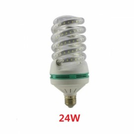 E27 24W SMD 2835 Spiral Shape LED Corn Light Bulb - Cold White