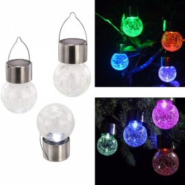 LED Crackle Glass Globe Solar Power Light Color Changing Colorful