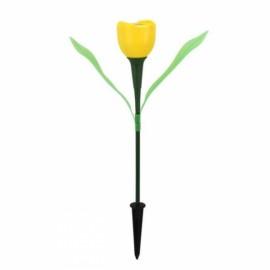 Solar Power Outdoor Yard Garden Lawn LED Tulip Flower Light Lamp Yellow