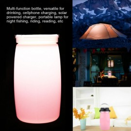 Outdoor Foldable Waterproof Solar Water Bottle LED Light Pink