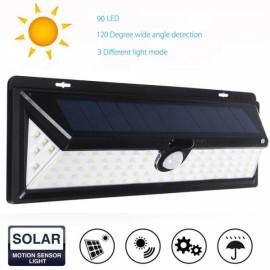 Outdoor Solar Motion Sensor Light 90 LED 3 Modes Wide Angle Black