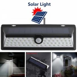 Outdoor Solar Motion Sensor Light 66 LED 3 Modes Wide Angle Black