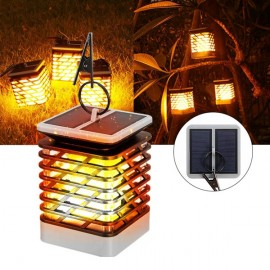 75 LED Solar Powered Light Outdoor Garden Flickering Flame Wall Light