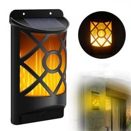 66 LED Flickering Solar Garden Light Outdoor Waterproof Dancing Flame Wall Lamp