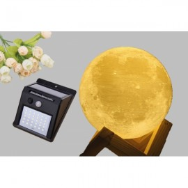 3D Printing Moon Lamp & 30 LED Solar Powered Outdoor Wall Light