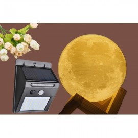 3D Printing Moon Lamp & 25 LED Solar Powered Panel Motion Sensor Outdoor Wall Light