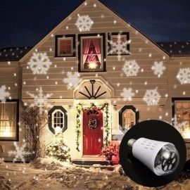 E27 LED Laser Projector Decoration for Christmas 4W AC85-265V Lamp Bulb - White Snowflakes
