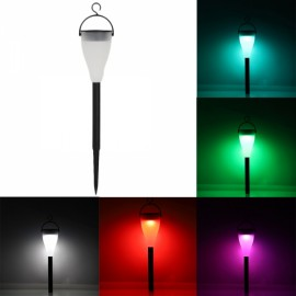 Solar LED Power Three Modes Colorful Light Lawn Lamp Black Shell