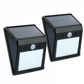 2pcs Solar Power 20-LED Super Bright Motion Sensor LED Waterproof Wireless Security Light Courtyard Corridor Lamp Black