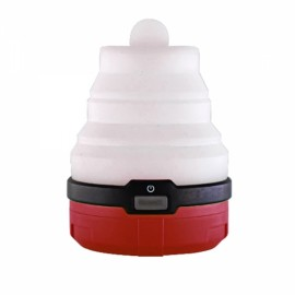 S-what Silicone Telescopic Tent Lights luz Colorful Candles Night Lights LED Camping Mini Lanterns (Red)