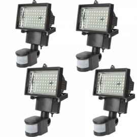 4pcs 60 LED Motion Sensor Solar Power PIR Body Flood Light Outdoor Garden