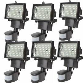 6pcs 60 LED Motion Sensor Solar Power PIR Body Flood Light Outdoor Garden