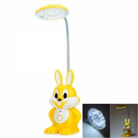 YD-7725 Cartoon Rabbit Style Rechargeable 2-Mode 18-LED White Light Flexible Neck Desk Lamp Yellow & White