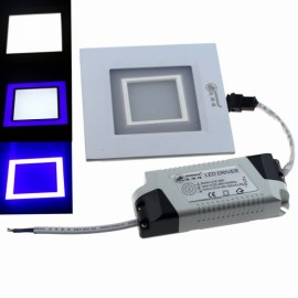 ZSJ-H7+3 10W 800LM 14-SMD5630 White LED + 12-SMD2835 Blue LED Dimmable Square Panel Light (AC 85-265V)