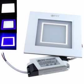 ZSJ-H12+3 15W 1200LM 24-SMD5630 White LED + 12-SMD2835 Blue LED Dimmable Square Panel Light (AC 85-265V)