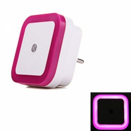 LED Wall Night Light 0.5W Smart Sensor Square EU Plug - Rose Red