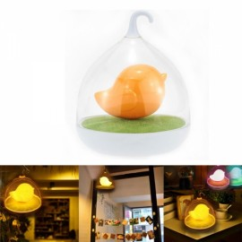 Cute Bird Cage Style Children Bedroom Decoration Creative Touch LED Night Lamp Orange