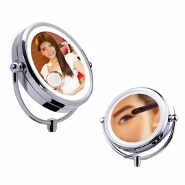 "ALHAKIN 6"" LED Dual-side 360-Degree Cosmetic Mirror Light Table Stand Mirror with Light Silver"