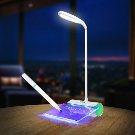 Folding Rechargeable Eye Protection Smart LED Desk Lamp with Message Board Touch Control Reading Light Green